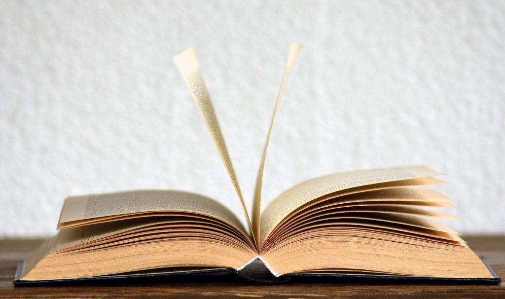 Aufgeschlagenes Buch auf einer braunen Tischplatte vor weißer Wand