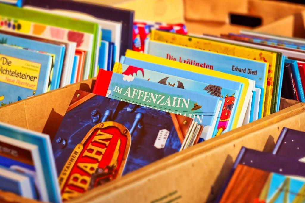 Viele Kinderbücher in Kiste aufgestellt